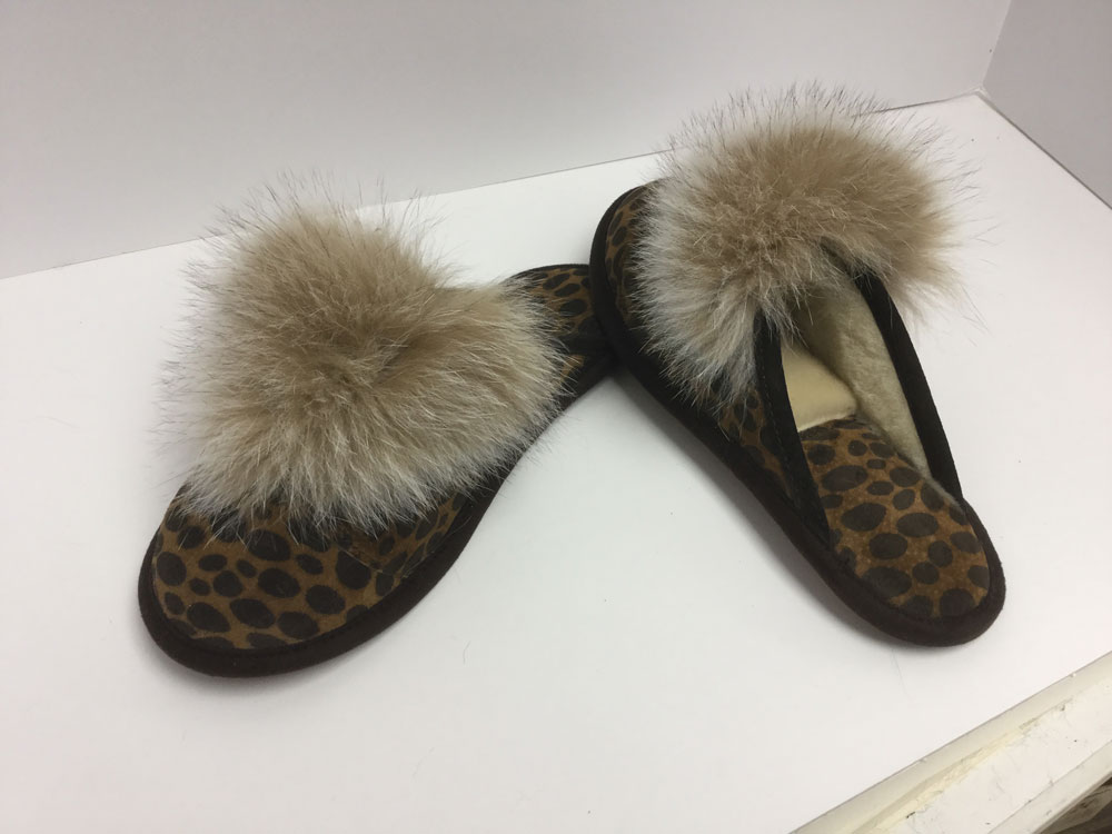 Mules, suede leopard print, with fox
