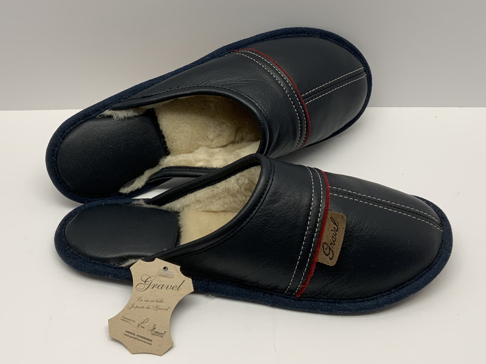 Mule in leather Dark Blue for women