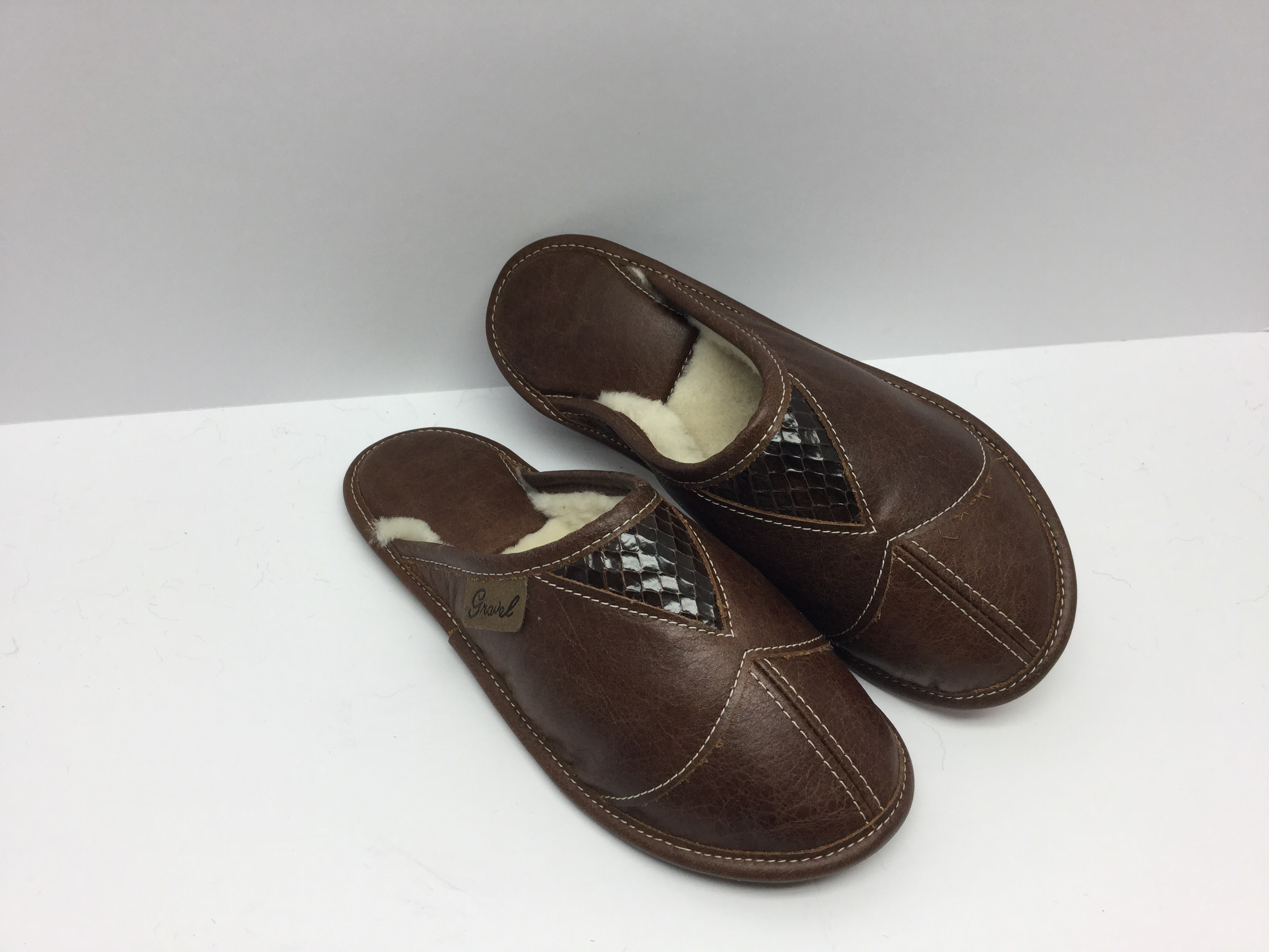 Brown leather snake mules