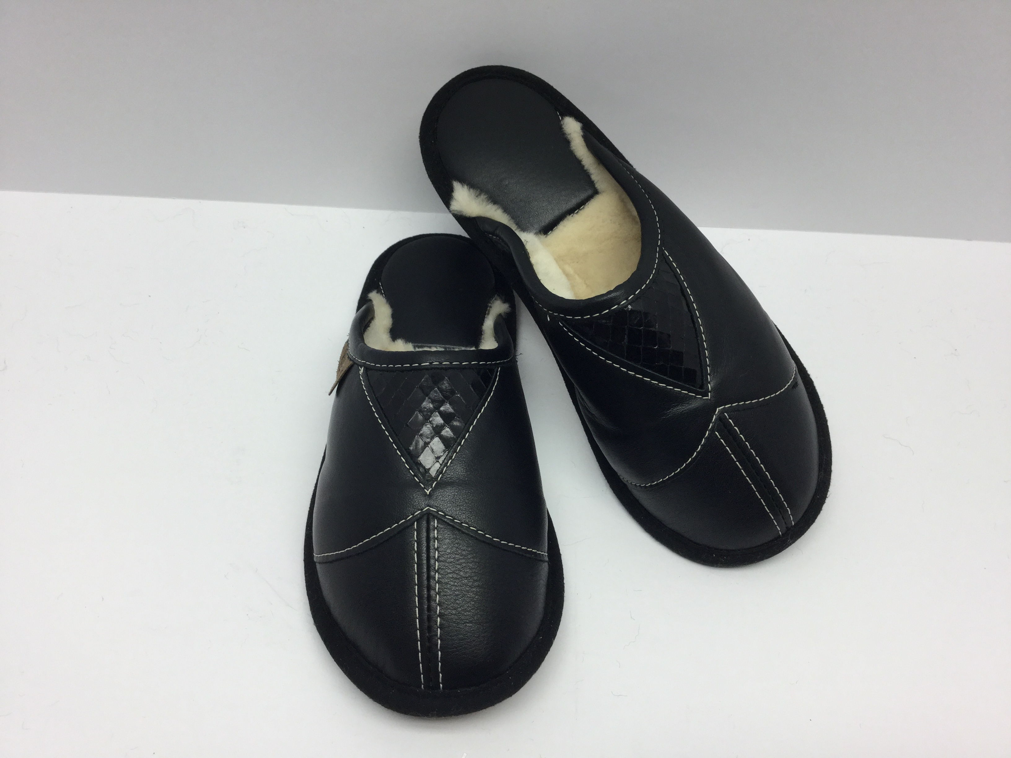 Black leather snake mules