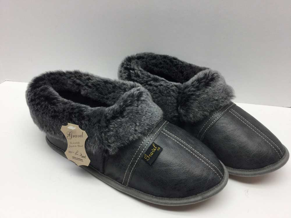 Slippers All-Leather Gray / sheepskin Brisa Black - Sheepline brisa black