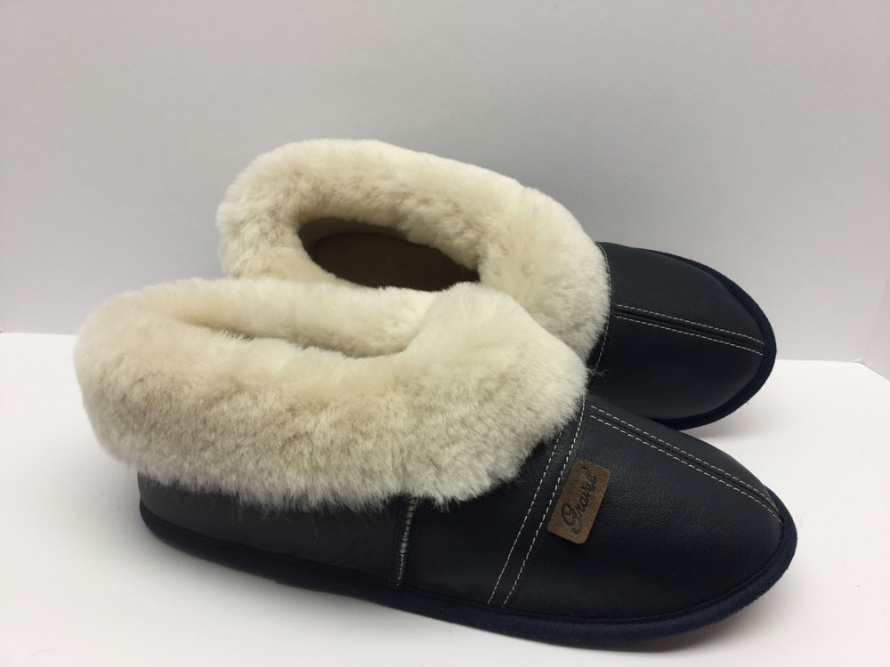 Slippers all-leather Dark blue