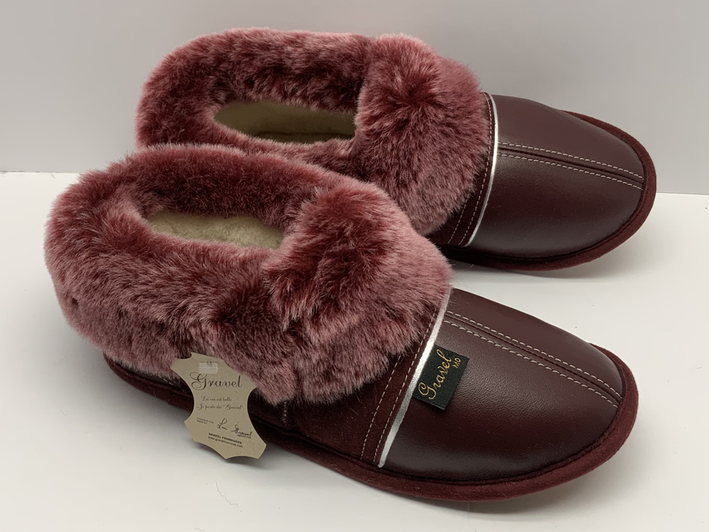 Slippers Leather/Suede Burgundy for Women / sheepskin fur lining - Sheepline Brisa Burgundy