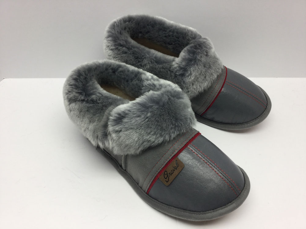 Slippers in Leather gray for women Gravel