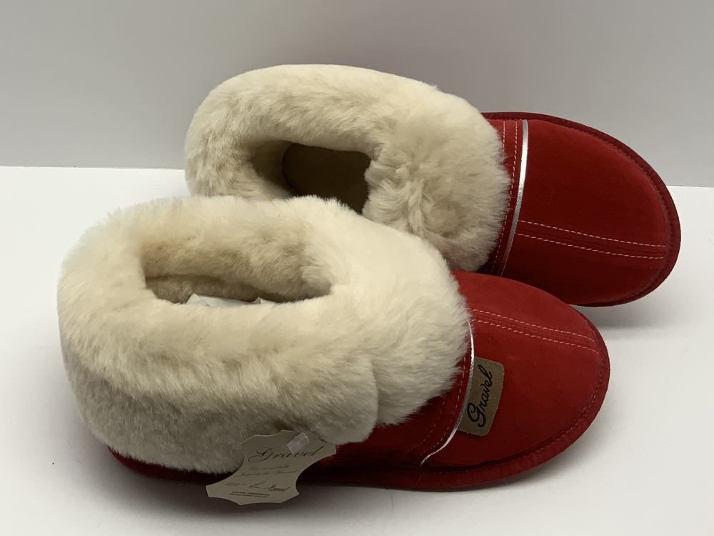 Slippers in suede for women red Gravel